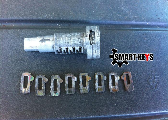 сильный износ секретов (пинов) замка зажигания субару форестер